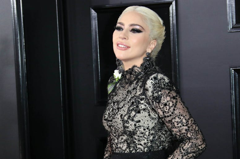 Lady Gaga arrives at the 60th Annual Grammy Awards at Madison Square Garden.