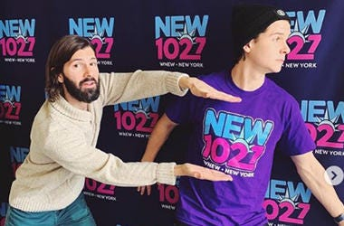 NEW 102.7's Mike Adam with Lukas Forchhammer of Lukas Graham