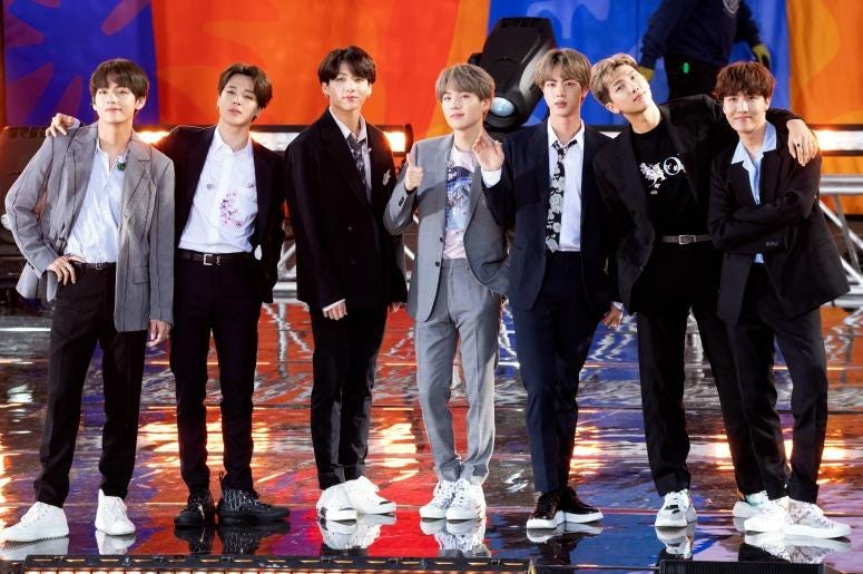 "BTS perform on ""Good Morning America"" on May 15, 2019 in New York City"