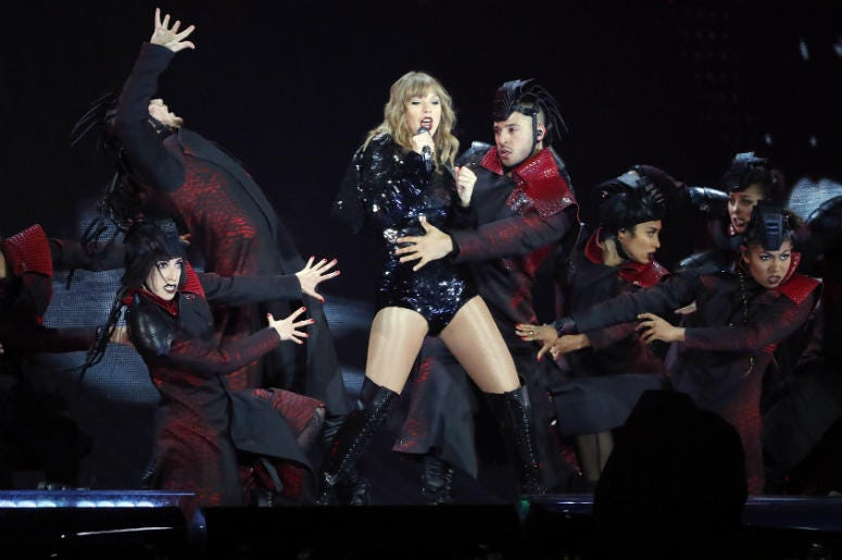 Taylor Swift performs during the launch of her Reputation Tour at University of Phoenix Stadium.