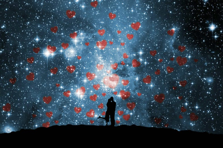 night sky with hearts