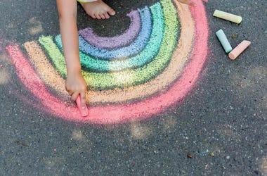 rainbow chalk on sidewalk
