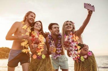 Friends on beach in Hawaii