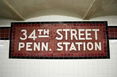 Penn Station tile sign