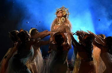 Beyonce performs at the 59th Annual Grammy Awards at Staples Center on February 12, 2017 in Los Angeles, California.