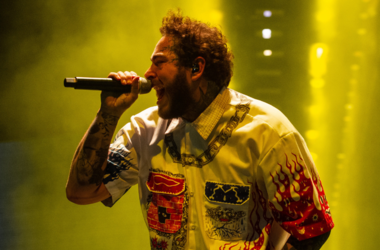 Post Malone performs on stage at The Resorts World Arena on 16 February 2019 in Birmingham, England