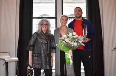Marilyn Russell, Julie Ertz, and Zach Ertz