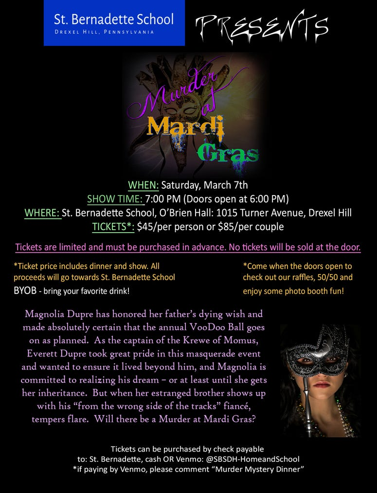 St. Bernadette School Presents 'Murder at Mardi Gras'