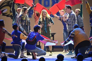 Barrett Wilbert Weed, Erika Henningsen, Grey Henson and the cast of Mean Girls perform onstage during the 72nd Annual Tony Awards at Radio City Music Hall on June 10, 2018 in New York City.