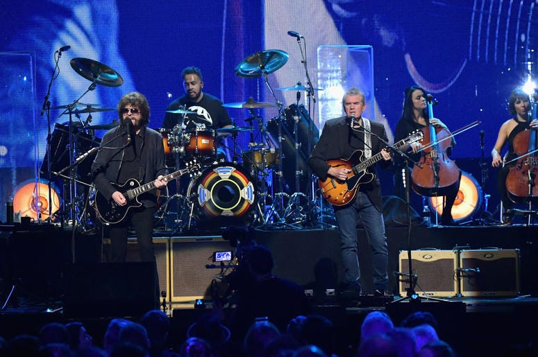 NEW YORK, NY - APRIL 07: 2017 Inductee Jeff Lynne (L) of ELO performs onstage at the 32nd Annual Rock & Roll Hall Of Fame Induction Ceremony at Barclays Center on April 7, 2017 in New York City.