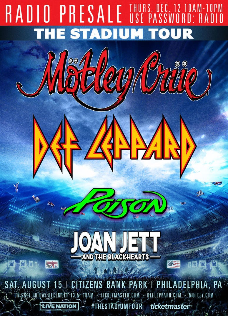 Def Leppard & Motley Crue With special guests Poison & Joan Jett & The Blackhearts