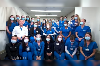 Ellen Surprises Philly's 'Swab Squad' Nurses at Philly's Jefferson Hospital