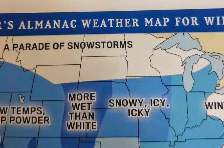 """LISTEN: The Farmer's Almanac Winter Forecast. Why Jim & Teri are worried by the word, """"wallop."""""""