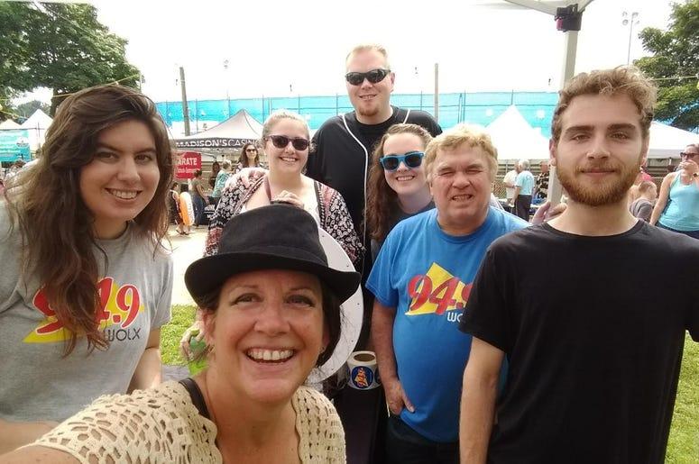 WOLX team at the Sweet Corn Festival with Jim, Teri, Rachel, Jordan, Katie and Megan