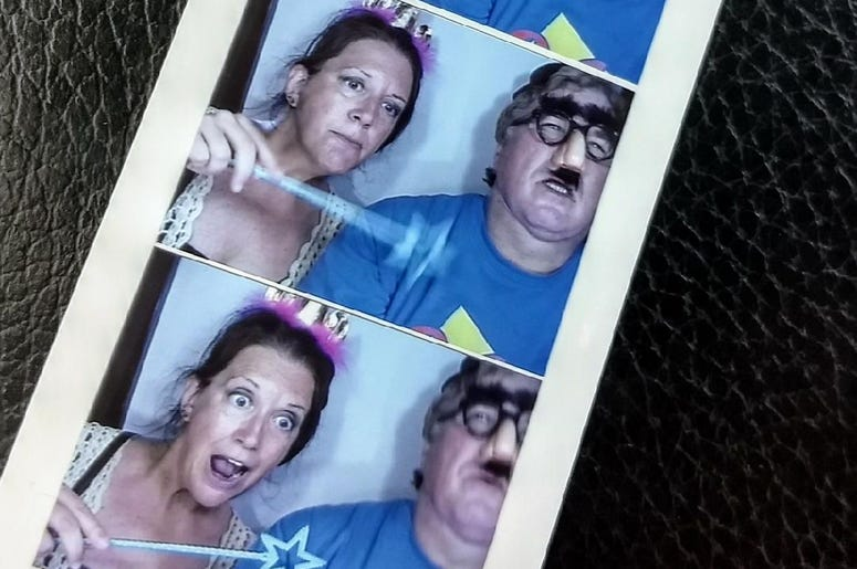 Fun with YOU at the Sweet Corn Fest, Jim and Teri in the Photo Booth