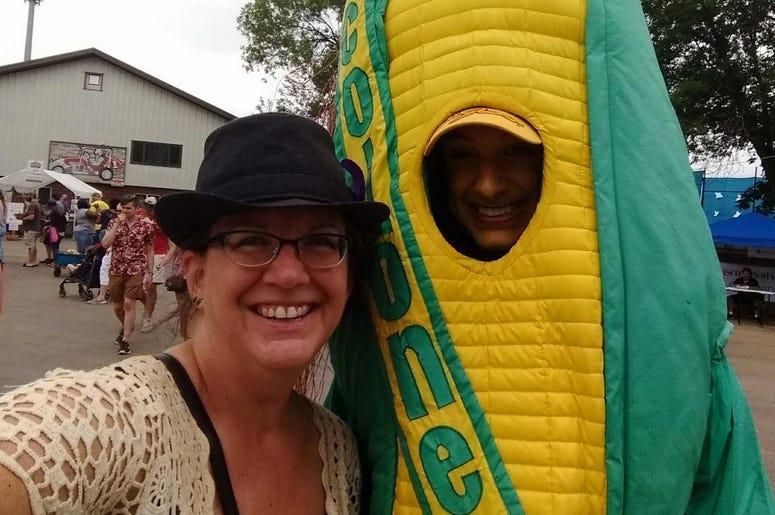 Sweet Corn Festival Official Mascot Colonel Corn with Teri