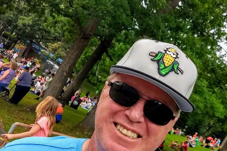 Corny hat worn at Sweet Corn Festival