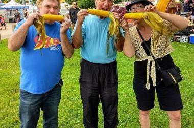 Jim & Teri with Sun Prairie Alder Steve Stocker. And CORN!
