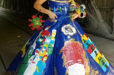 Peyton Manker in Duct Tape Dress She Created