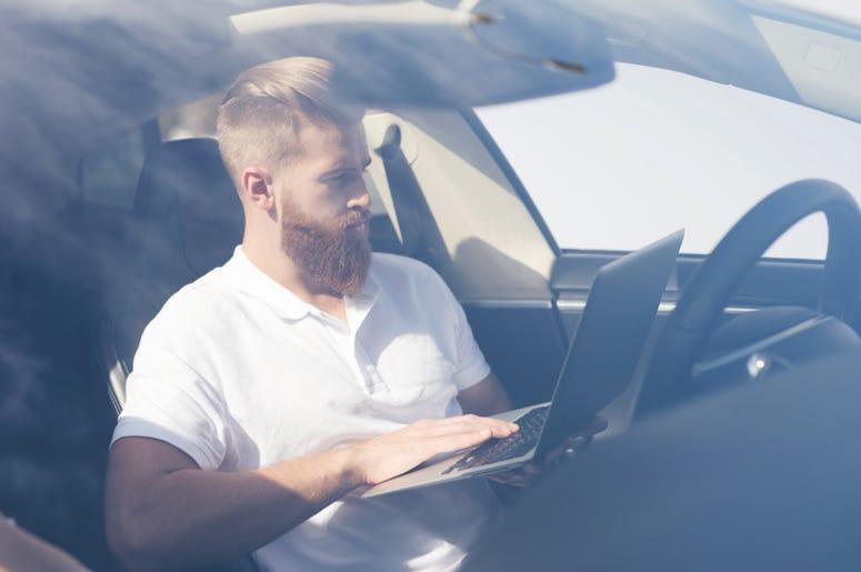 Laptop in car