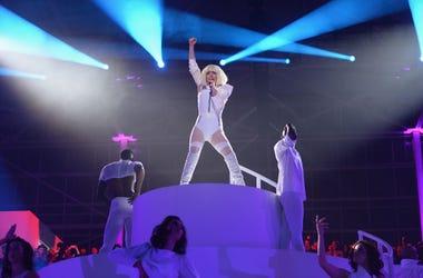 Lady Gaga Falls Off Stage