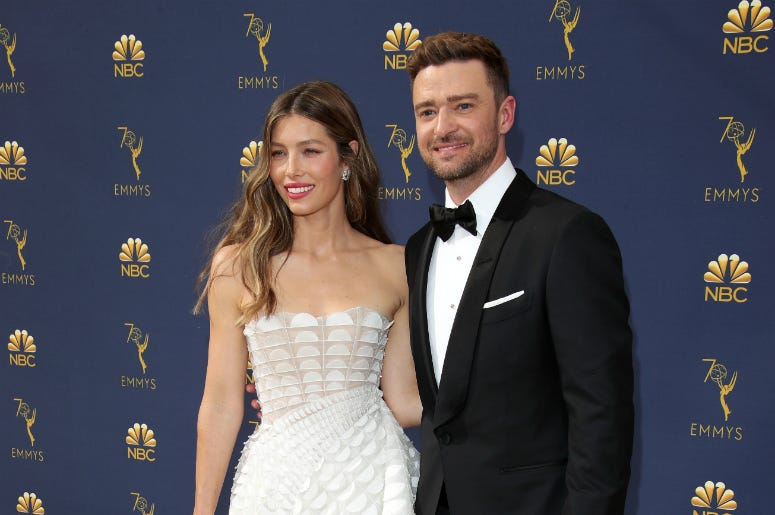 Jessica Biel and Justin Timberlake arrive for the 70th Emmy Awards