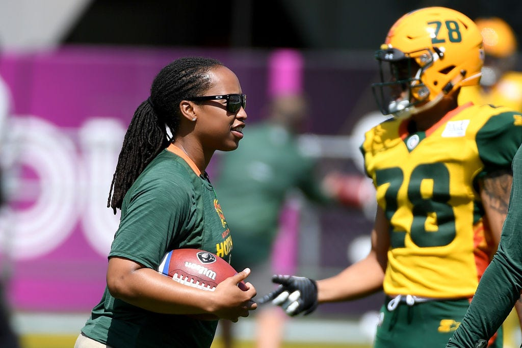 Assistant coach Jennifer King of the Arizona Hotshots during warmups prior to the Alliance of American Football game against the San Diego Fleet.