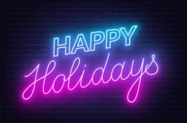 The Word Happy Holidays In Glow Letters