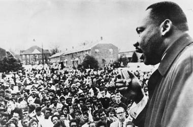 Dr Martin Luther King (1929 - 1968) addresses civil rights marchers in Selma, Alabama