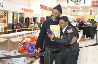 The Joe Clair Morning Show passed out turkeys to community members.