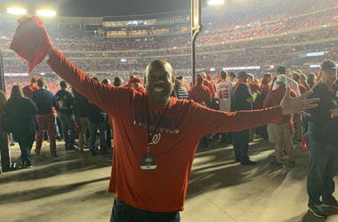 DJ Flexx of WPGC is all smiles at Nationals Park before Game 3 of the World Series.