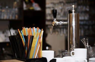 Plastic straws at a restaurant.