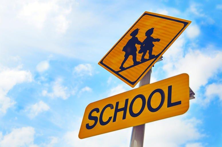 Yellow School Crossing Sign