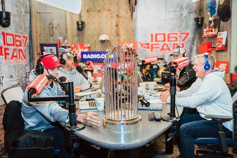 The trophy makes a guest appearance with The Sports Junkies.
