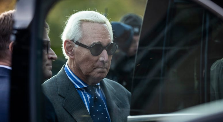 WASHINGTON, DC - NOVEMBER 8: Roger Stone, former advisor to President Donald Trump, gets into a vehicle as he leaves the E. Barrett Prettyman United States Courthouse after he testified at the Roger Stone trial November 8, 2019 in Washington, DC. Stone ha