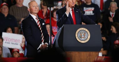 "WILDWOOD, NEW JERSEY - JANUARY 28: U.S. Congressman Jeff Van Drew joins President Donald Trump at an evening ""Keep America Great Rally"" at the Wildwood Convention Center on January 28, 2020 in Wildwood, New Jersey. Trump was in the Southern New Jersey tow"