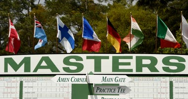 AUGUSTA, GA - APRIL 07: A general view of the score board along side the first hole during a practice round prior to the start of the 2015 Masters Tournament at Augusta National Golf Club on April 7, 2015 in Augusta, Georgia.