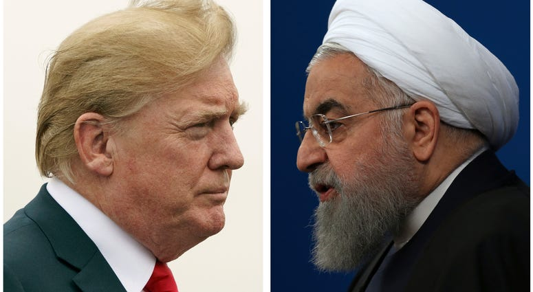 COMBO - This combination of two pictures shows U.S. President Donald Trump, left, on July 22, 2018, and Iranian President Hassan Rouhani on Feb. 6, 2018. In his latest salvo, Trump tweeted late on Sunday, July 22 that hostile t
