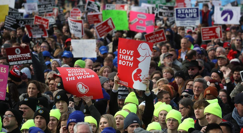 WASHINGTON, DC - JANUARY 24: People gather for the 47th March For Life rally on the National Mall where U.S. President Donald Trump addressed the crowd, January 24, 2019 in Washington, DC. The Right to Life Campaign held its annual March For Life rally an
