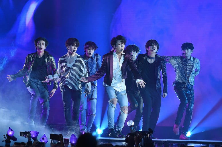 Jungkook, Jimin, V, Suga, Jin, j-hope of BTS perform at the 2018 Billboard Music Awards