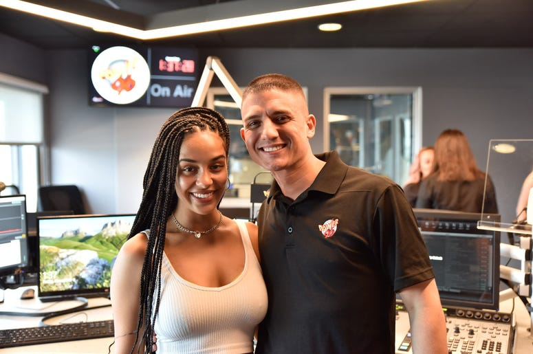 DJ JPS with Jorja Smith at Entercom Miami