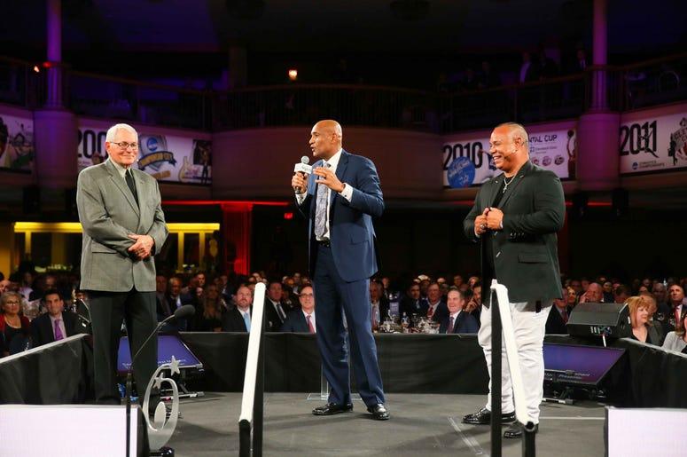 Cleveland Indians legends Mike Hargrove, Sandy Alomar, Jr, and Carlos Baerga