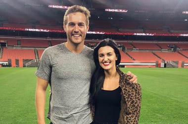 Morgan from Q104's The Jeremiah Show and Pilot Peter from ABC's The Bachelor at FirstEnergy Stadium in Cleveland