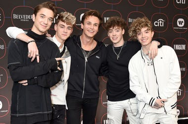 LOS ANGELES, CA - FEBRUARY 07: Why Don't We, Daniel Seavey, Jack Avery, Corbyn Besson, Zach Herron, and Jonah Marais, arrive at the Warner Music Group Pre-Grammy Celebration at Nomad Hotel Los Angeles on February 7, 2019 in Los Angeles, California. (Photo