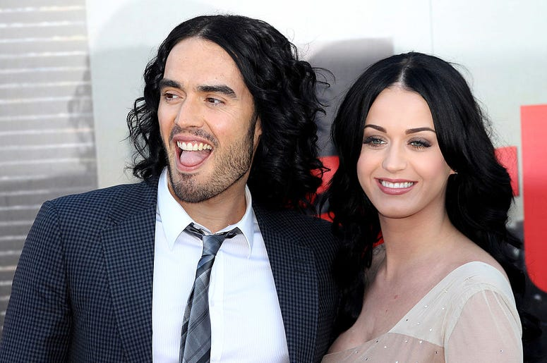 LONDON, ENGLAND - APRIL 19: Russell Brand and Katy Perry attend the European Premiere of Arthur at Cineworld 02 on April 19, 2011 in London, England. (Photo by Chris Jackson/Getty Images)
