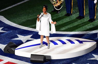 ATLANTA, GEORGIA - FEBRUARY 03: Gladys Knight performs the National Anthem prior to Super Bowl LIII between the New England Patriots and the Los Angeles Rams at Mercedes-Benz Stadium on February 03, 2019 in Atlanta, Georgia. (Photo by Scott Cunningham/Get