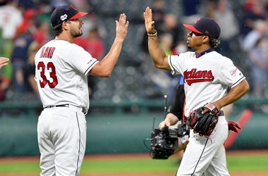 CLEVELAND, OHIO - JUNE 04: Closing pitcher Brad Hand #33 celebrates with Francisco Lindor #12 of the Cleveland Indians after the Indians defeated the Minnesota Twins at Progressive Field on June 04, 2019 in Cleveland, Ohio. The Indians defeated the Twins