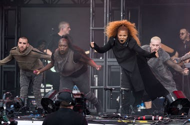 GLASTONBURY, ENGLAND - JUNE 29: Janet Jackson performs on the Pyramid stage on day four of Glastonbury Festival at Worthy Farm, Pilton on June 29, 2019 in Glastonbury, England. (Photo by Ian Gavan/Getty Images)