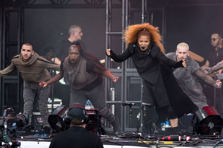 GLASTONBURY, ENGLAND - JUNE 29: Janet Jackson performs on the Pyramid stage on day four of Glastonbury Festival at Worthy Farm, Pilton on June 29, 2019 in Glastonbury, England. (Photo by Ian Gavan/Getty Images)