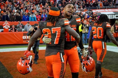 CLEVELAND, OH - NOVEMBER 10: Kareem Hunt #27 of the Cleveland Browns hugs Morgan Burnett #42 after the game against the Buffalo Bills at FirstEnergy Stadium on November 10, 2019 in Cleveland, Ohio. Cleveland defeated Buffalo 19-16. (Photo by Kirk Irwin/Ge